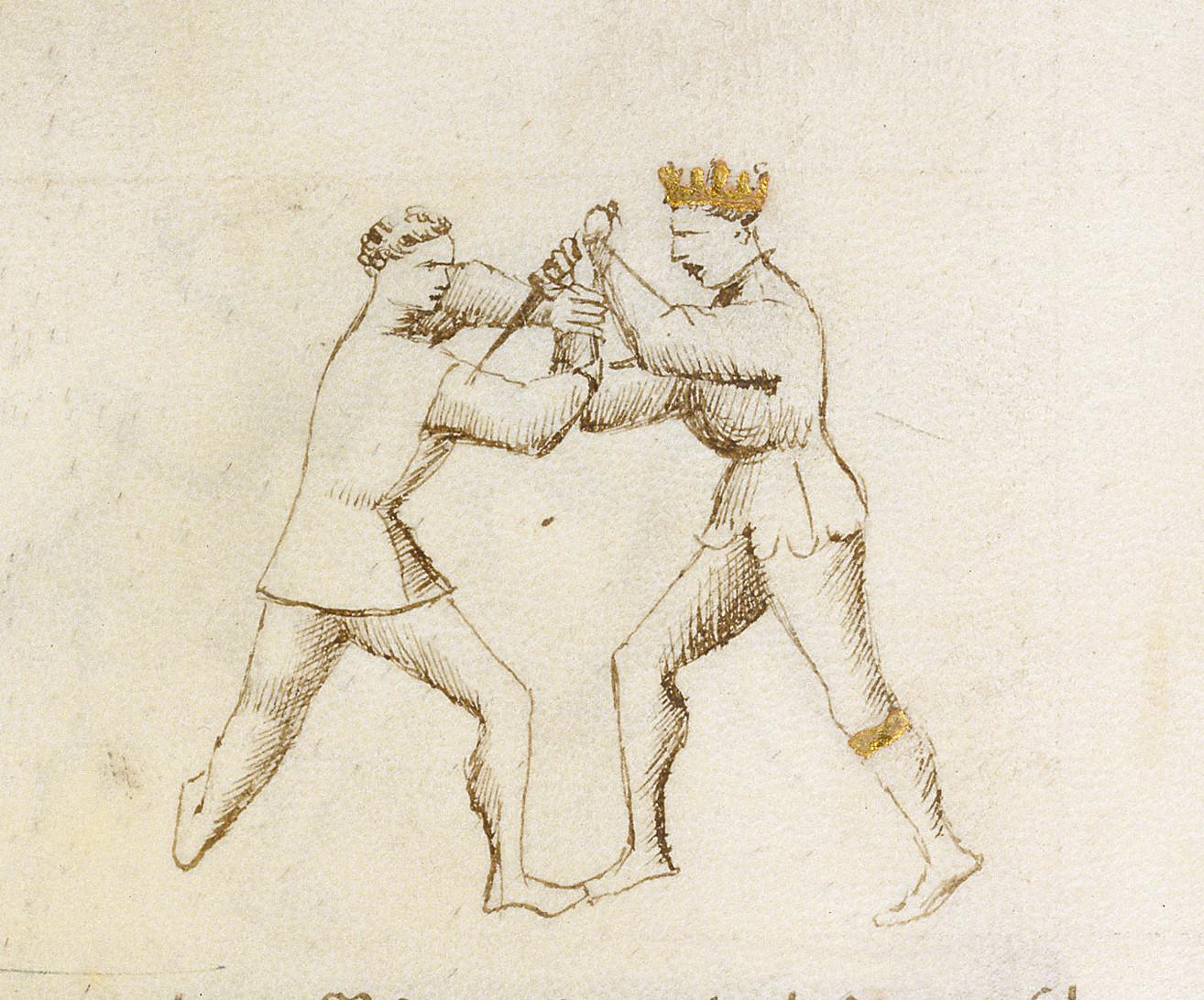immagine tratta dal fior di battaglia raffigurante zugadore e magistro remedio alle prese con un gioco di daga