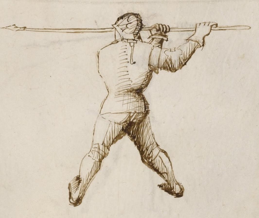 immagine tratta dal fior di battaglia raffigurante un uomo armato di lancia